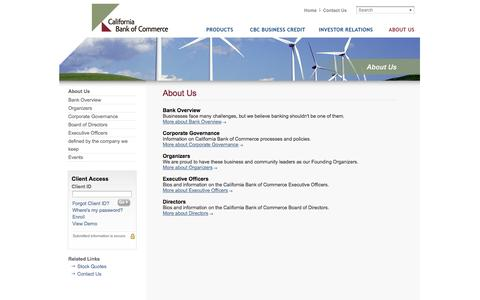 Screenshot of About Page californiabankofcommerce.com - About Us - California Bank of Commerce - captured Sept. 27, 2014