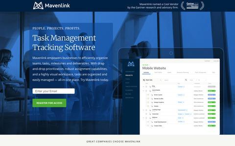 Screenshot of Landing Page mavenlink.com - Online Task Management Software | Mavenlink - captured March 21, 2018