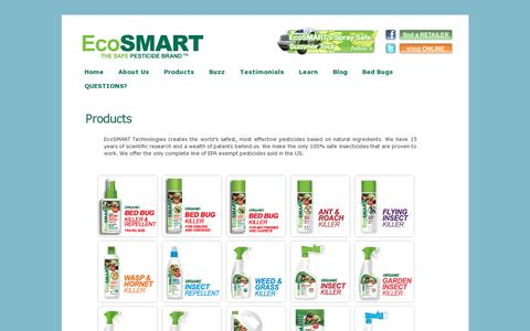 Screenshot of Products Page ecosmart.com - Products «  Safe Pesticides for Home | EcoSMART Organic Insecticide Bug Spray - captured July 19, 2014