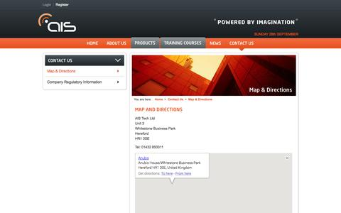 Screenshot of Maps & Directions Page ais-tek.com - AIS Tech - captured Sept. 30, 2014