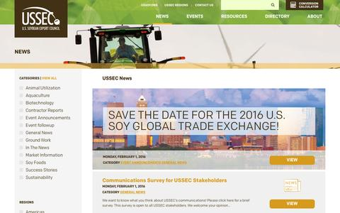 Screenshot of Press Page ussec.org - U.S. Soybean Export Council  Soy News  U.S. Soy for a Growing World - captured Feb. 3, 2016