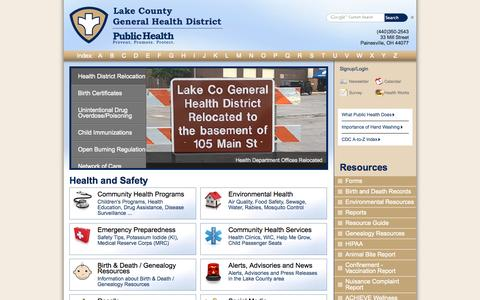 Screenshot of Home Page About Page Contact Page Site Map Page lcghd.org - Lake County General Health District - captured Oct. 1, 2014