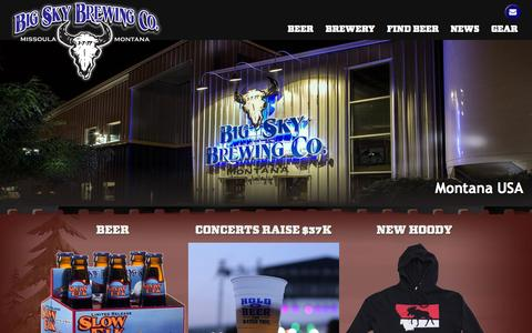 Screenshot of Home Page bigskybrew.com - Big Sky Brewing - Makers of Moose Drool Brown Ale in Missoula Montana - captured Oct. 5, 2014