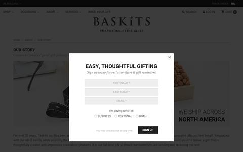 Screenshot of About Page baskits.com - Our Story - captured June 30, 2018