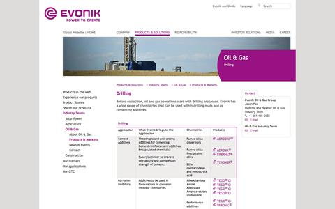 drilling - Evonik Industries - Specialty Chemicals