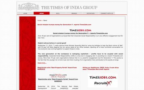 Screenshot of Press Page timesgroup.com - News - captured Sept. 22, 2014