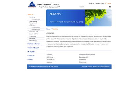 Screenshot of About Page americanpeptide.com - About Us: Custom Peptide Synthesis Company, Peptide Manufacturing: American Peptide Company - captured Oct. 4, 2014