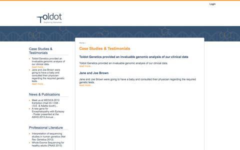 Screenshot of Case Studies Page toldot-dna.com - Case Studies & Testimonials | Toldot Genetics - captured Oct. 1, 2014