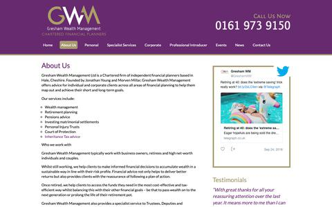 Screenshot of About Page greshamwm.co.uk - About Us - Gresham Wealth Management - captured Sept. 30, 2018