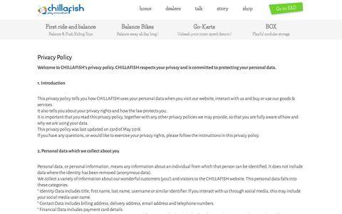 Screenshot of Privacy Page chillafish.com - Privacy Policy - Chillafish - captured Oct. 19, 2018