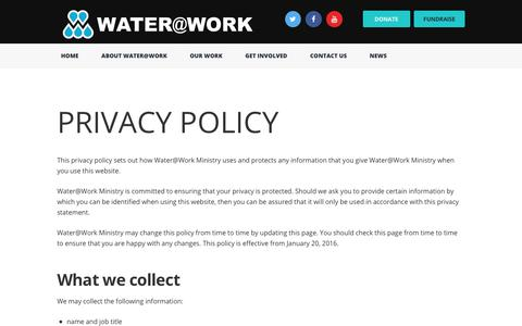 Screenshot of Privacy Page wateratworkministry.org - Privacy Policy | Water@Work Ministry - captured Oct. 19, 2017