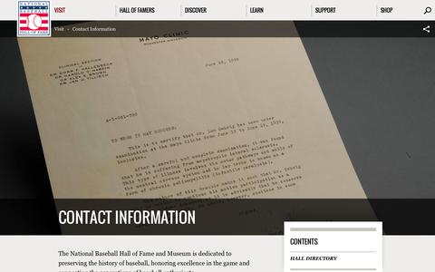 Screenshot of Contact Page baseballhall.org - Contact Information | Baseball Hall of Fame - captured Oct. 27, 2014
