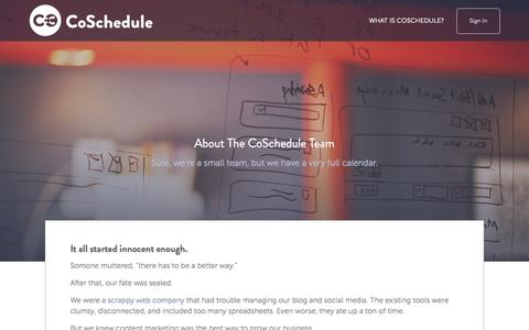Screenshot of About Page coschedule.com - About - captured Nov. 14, 2015