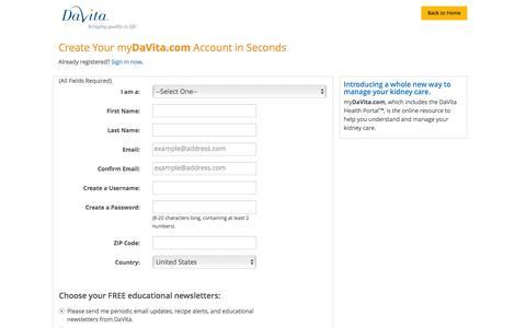 Screenshot of Landing Page davita.com - Register for myDaVita.com - DaVita - captured Aug. 14, 2016