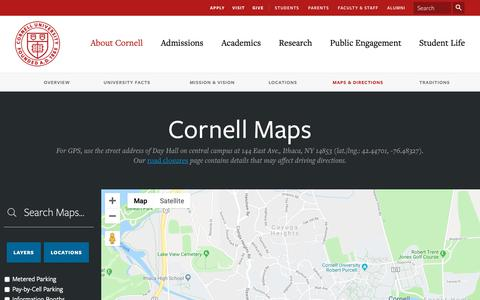 Screenshot of Maps & Directions Page cornell.edu - Cornell University | Maps - captured March 31, 2019