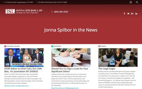 Screenshot of Press Page jonnaspilbor.com - Jonna Spilbor in the News | Jonna Spilbor Law - captured Feb. 17, 2018