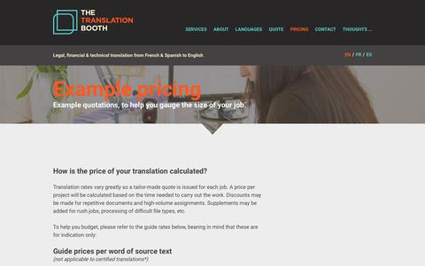 Screenshot of Pricing Page thetranslationbooth.co.uk - Example pricing - The Translation Booth - captured Sept. 27, 2018