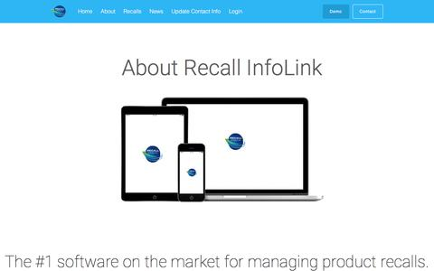 Screenshot of About Page recallinfolink.com - About Recall InfoLink - The #1 Software for Managing Recalls - captured Jan. 19, 2018