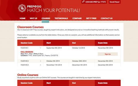 Screenshot of Signup Page prepegg.com - SAT Prep Courses - PrepEgg - captured Oct. 8, 2014