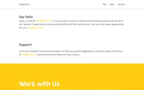 Screenshot of Contact Page Support Page azoi.com - Contact us - Azoi Inc. - captured Oct. 23, 2014