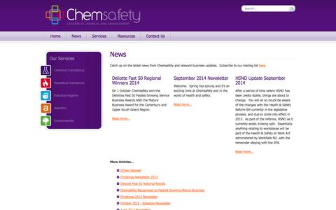 Screenshot of Press Page chemsafety.co.nz - The News - captured Oct. 2, 2014
