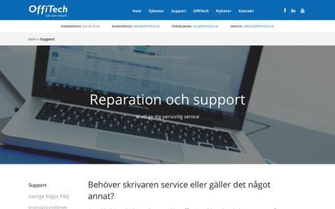 Screenshot of Support Page offitech.se - Laga skrivare: Support & Reparation av skrivare - Offitech - captured Nov. 29, 2016