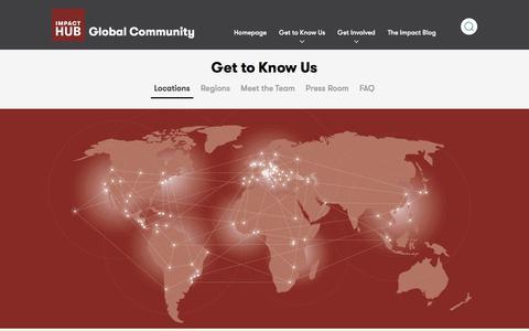 Screenshot of Locations Page impacthub.net - Locations - Impact Hub - captured Sept. 22, 2018