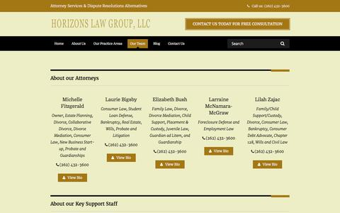 Screenshot of Team Page horizonslaw.com - Our Team - Horizons Law Group, LLC - captured Aug. 31, 2017