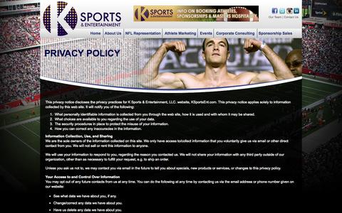 Screenshot of Privacy Page ksportsent.com - Privacy Policy «  K Sports & Entertainment :: Full Service Sports Agency | Athlete Marketing | Corporate Consulting | Sponsorship Sales | NFL Representation - captured Oct. 3, 2014