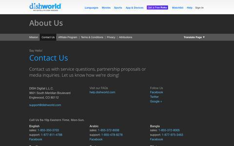 Screenshot of Contact Page dishworld.com - Contact Us | DishWorld - captured Sept. 24, 2014