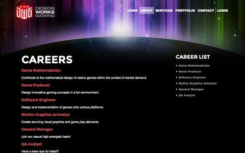 Screenshot of Jobs Page designworksgaming.com - Careers At Design Works Gaming | Design Works Gaming - captured Sept. 30, 2014