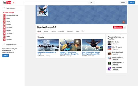 Screenshot of YouTube Page youtube.com - SkydiveOrangeDC  - YouTube - captured Oct. 25, 2014
