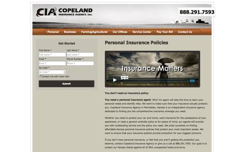 Screenshot of Products Page copelandinsurance.net - Copeland Insurance Agency | Personal Insurance | Personal Insurance Coverage for all of Kansas - captured Oct. 3, 2014