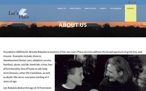 Screenshot of About Page leesplace.org - About Us – Lees Place - captured Sept. 28, 2018