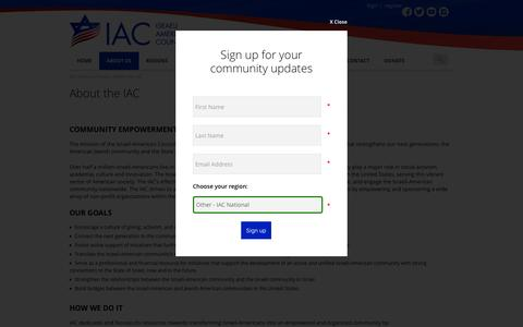 Screenshot of About Page israeliamerican.org - About the IAC | Israeli American Council - captured Feb. 11, 2016