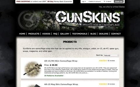 Screenshot of Products Page gunskins.com - GunSkins for your Rifle, Shotgun, AR-15, Pistol, Magazine and More! - captured Sept. 19, 2014