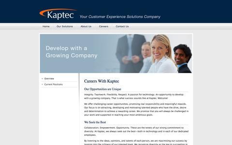 Screenshot of Jobs Page kaptec.com - Kaptec - Contact Centre Careers - captured Sept. 30, 2014