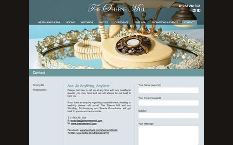 Screenshot of Contact Page thesheenemill.com - Contact | The Sheene Mill – Restaurant, Rooms, Weddings – Melbourn, Royston, Cambridgeshire / Hertfordshire - captured Oct. 9, 2014