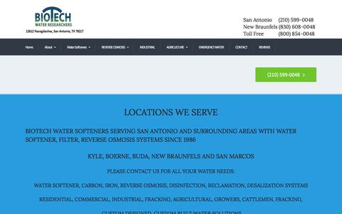 Screenshot of Locations Page biotechwater.com - Locations - BIOTECH - captured Nov. 22, 2016