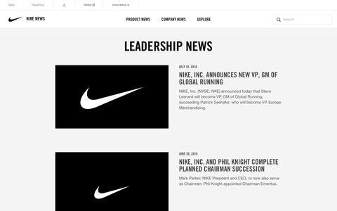 Screenshot of Team Page nike.com - Nike News - Leadership News - captured Sept. 3, 2017