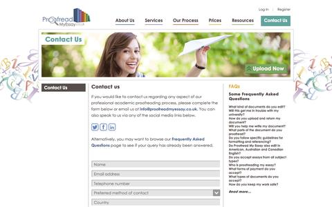 Screenshot of Contact Page proofreadmyessay.co.uk - Proofread My Essay - Contact us and say hello - captured Sept. 23, 2014