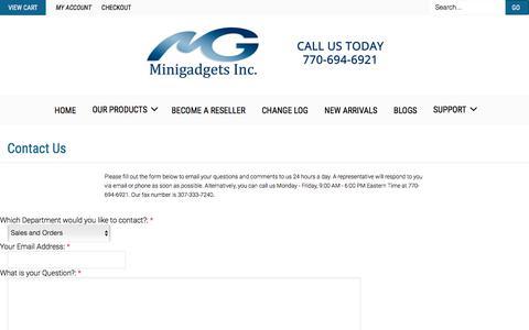 Screenshot of Contact Page minigadgets.com - Contact Us - captured June 24, 2017