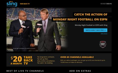 Screenshot of Home Page sling.com - Sling TV - Watch Live TV Programming Any Time and Anywhere - captured Nov. 16, 2015
