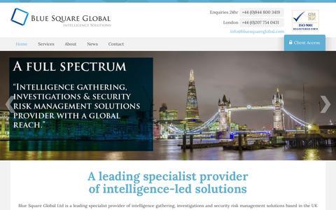 Screenshot of Home Page bluesquareglobal.com - Surveillance Investigations | Intelligence Gathering / Global - Nationwide | Blue Square Global - captured Oct. 5, 2014