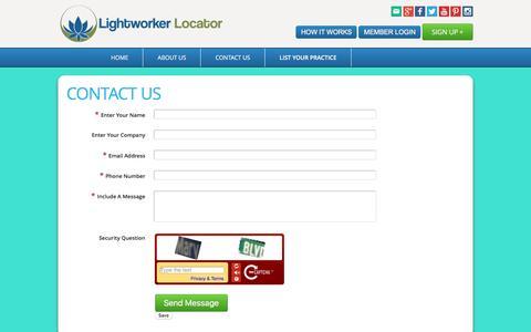 Screenshot of Contact Page lightworkerlocator.com - Contact Us - Lightworker Locator - captured April 16, 2016