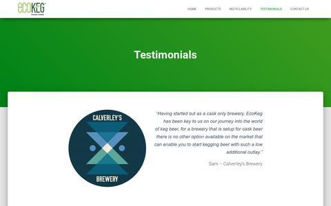 Screenshot of Testimonials Page ecokeg.com - Testimonials – EcoKeg - captured Sept. 27, 2018