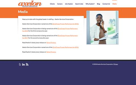 Screenshot of Press Page axelon.com - Media - Axelon Services Corporation - captured Sept. 24, 2018