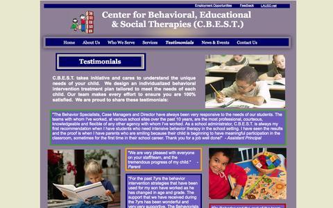 Screenshot of Testimonials Page centerbest.com - Testimonials - captured Oct. 2, 2014