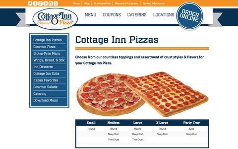 Screenshot of Menu Page cottageinn.com - Gourmet Pizza Menu, Subs & Salads | Cottage Inn Pizza - captured Sept. 19, 2014