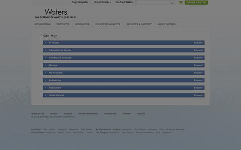 Screenshot of Site Map Page waters.com - Sitemap : Waters - captured July 24, 2019